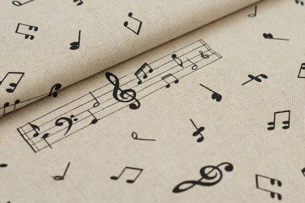 Canvas-Stoff Dekostoff in Leinenoptik Musiknoten Notenschlüssel natur / schwarz