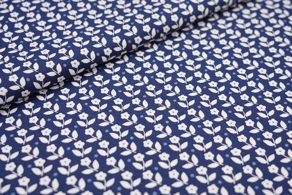 Baumwollstoff Baumwolle Blumen und Punkte dunkelblau / weiß
