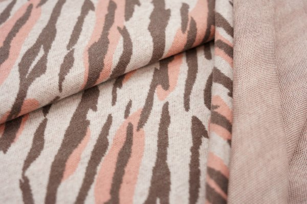 Jacquard-Jersey Tigerfell Design off white / taupe braun / lachs