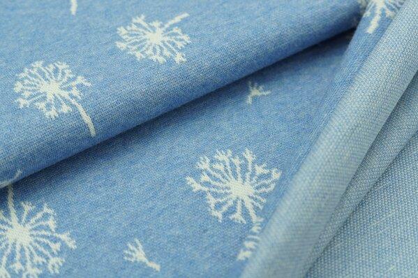 Jacquard-Sweat Mia off white Pusteblumen Muster auf pastell jeansblau Melange