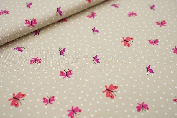 Baumwoll-Jersey Schmetterlinge und weiße Punkte auf beigegrau