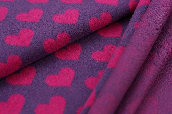 Kuschel Jacquard-Sweat Max mit Herzen amarant pink auf lila