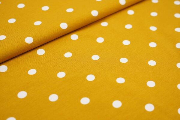 Baumwoll-Jersey große weiße Punkte auf rostsenf