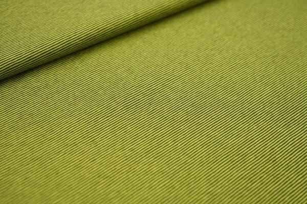 Baumwoll-Jersey Mini-Streifen Ringel dunkel khaki / limettengrün