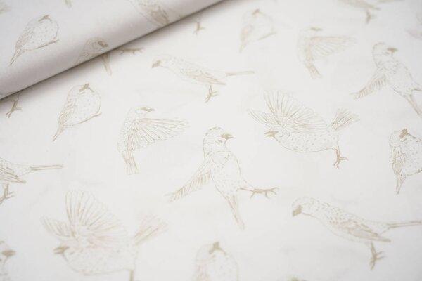 Baumwollstoff Vögel Vogel weiß / beige
