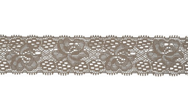 Elastische Spitze mit Blumen uni taupe schlammbraun 30 mm Spitzenborte Zierband
