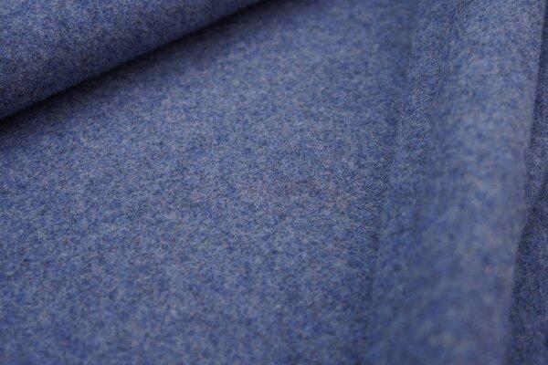 Dicker kuscheliger Baumwoll-Fleece Stoff uni jeansblau meliert