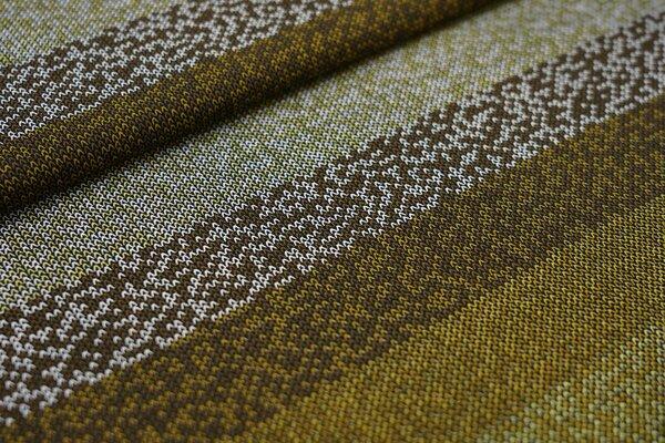 Baumwoll-Jersey Streifen in Strickoptik schwarz / braun / senf / weiß