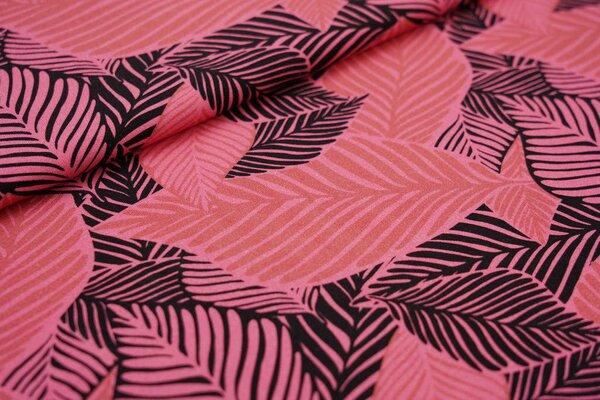 Baumwoll-Jersey Digitaldruck große altrosa / schwarze Blätter