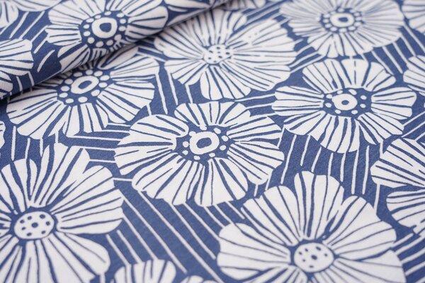 Sommer T-Shirt-Stoff / leichter Jersey große Blumen Blüten Striche taupe blau