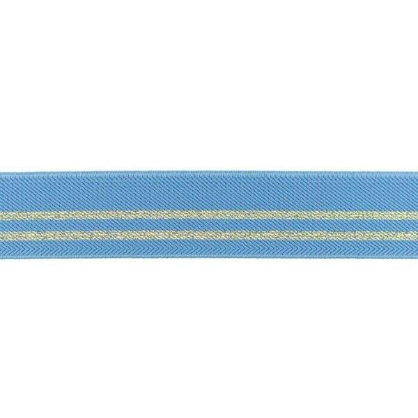 Gummiband mit 2 Gold Glitzer Streifen altblau 30 mm
