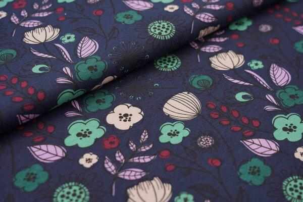 Baumwoll-Jersey mit Blumen und Blättern auf dunkelblau