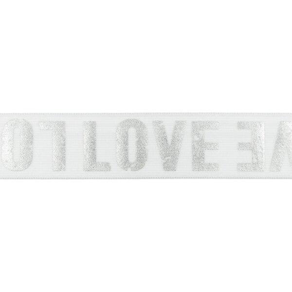 Breites Gummiband weiß mit silbernem LOVE Schriftzug 40 mm
