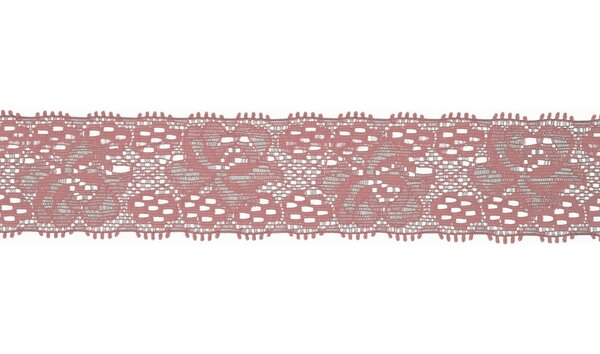 Elastische Spitze mit Blumen uni dunkel altrosa 30 mm Spitzenborte Zierband