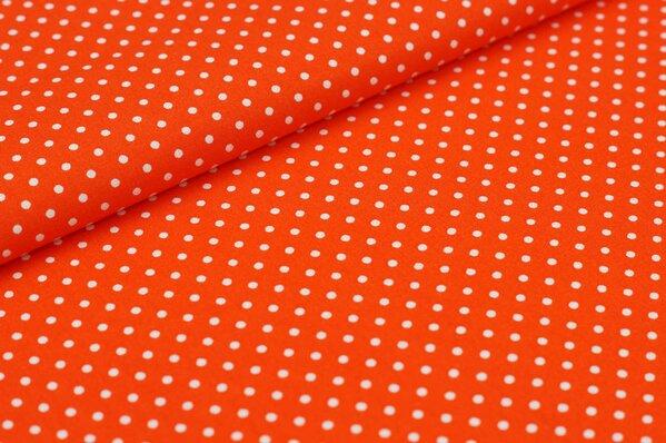 Baumwollstoff Baumwolle kleine Punkte orange / weiß