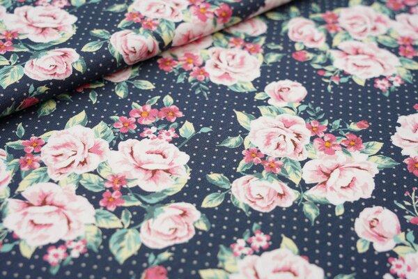Baumwoll-Jersey Rosen und Punkte auf dunkelgrau