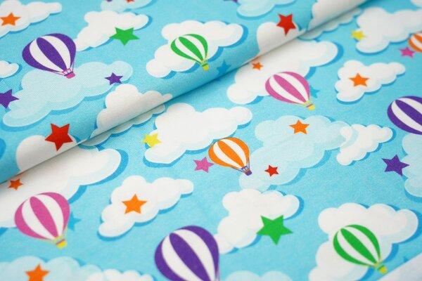 Baumwoll-Jersey mit bunten Heißluftballons Sterne und Wolken auf hellblau