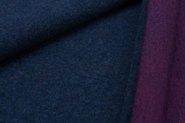 Kuschel Jacquard-Sweat Max Uni navy blau Melange mit amarant pink
