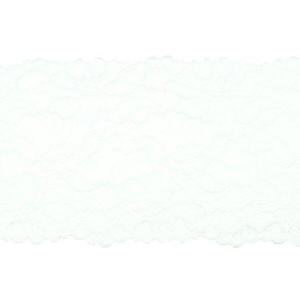 Elastische breite Spitze mit Blumen-Muster weiß 155 mm Spitzenbordüre