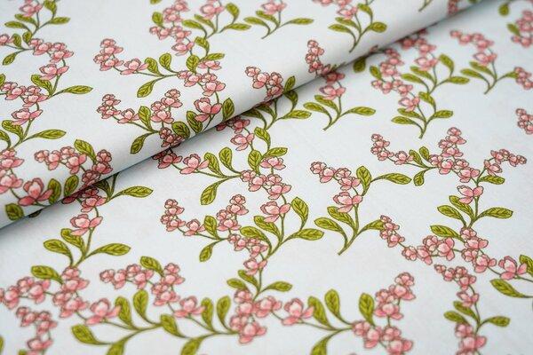 Baumwolle Blütenzweige Blumen hellblau / grün / koralle