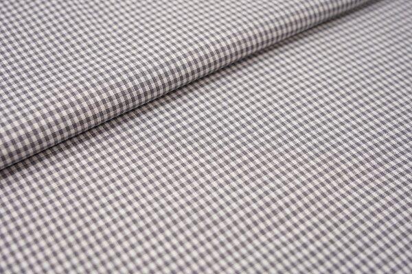 Baumwollstoff Baumwolle vichykaro Karomuster sehr klein kariert weiß / dunkelgrau