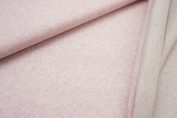 Jacquard-Sweat Mia uni pastell rosa Melange / Rückseite pastell mint blau beige