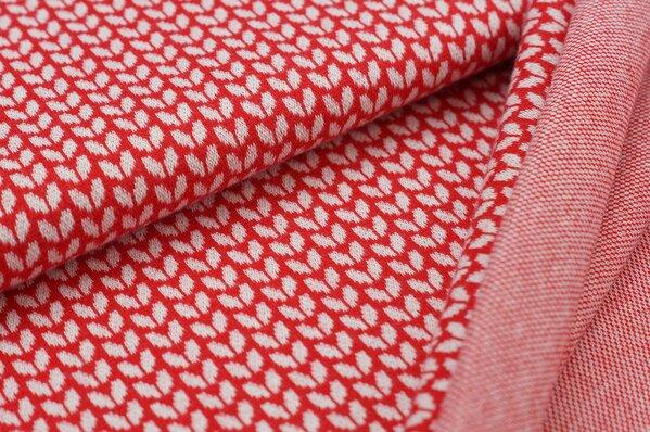 Jacquard-Sweat Ben kleine off white Blätter auf rot