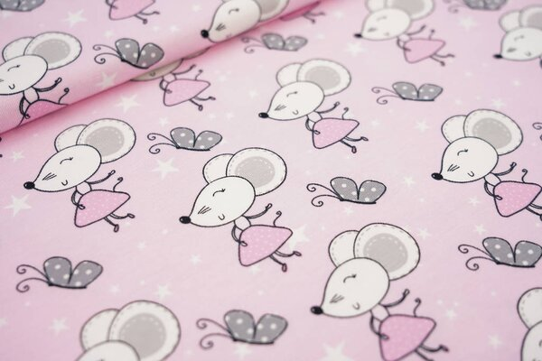 Baumwoll-Jersey Maus Mäuse Schmetterlinge und Sterne auf rosa