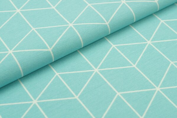 Dekostoff Canvas Geometrie Würfel Blöcke hellblau / weiß