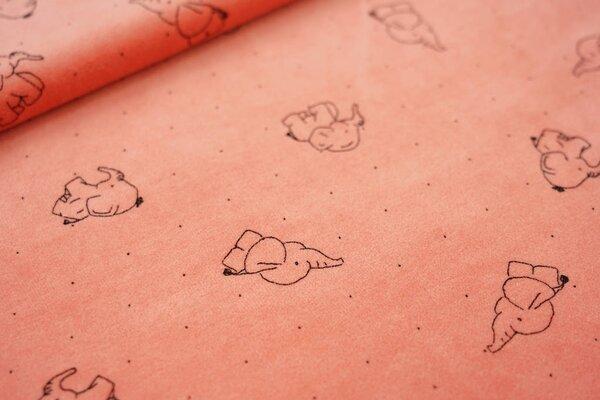 Nicki Velours Stoff Elefanten und Punkte auf pfirsich
