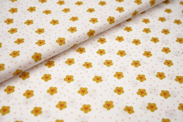 Baumwolle Blumen und Punkte weiß / senf ocker / apricot / rot
