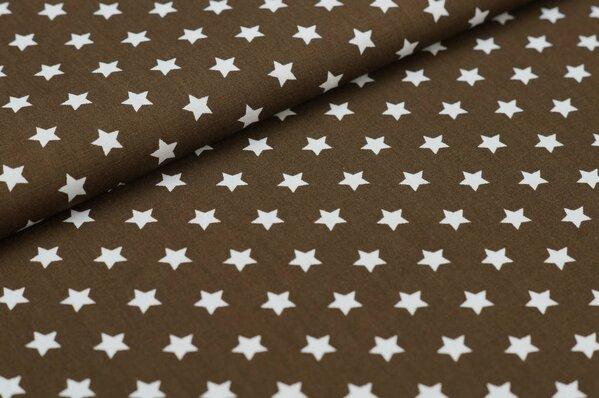 Baumwollstoff Baumwolle kleine Sterne braun / weiß