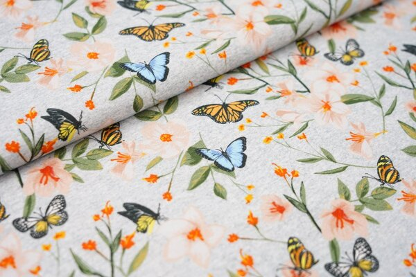 Digitaldruck Baumwoll-Jersey Blumen Schmetterlinge grau melierte Optik