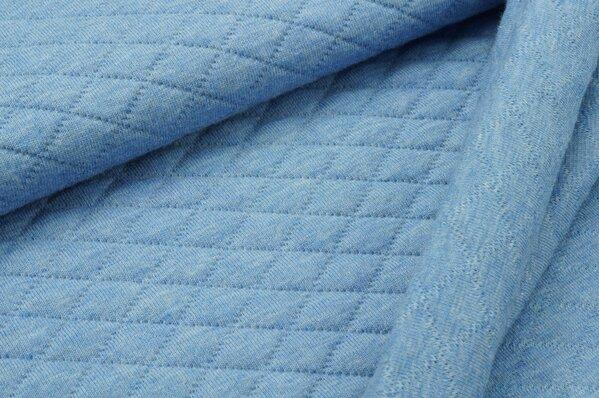 Stepp-Stoff Uni pastell jeansblau melange Steppsweat