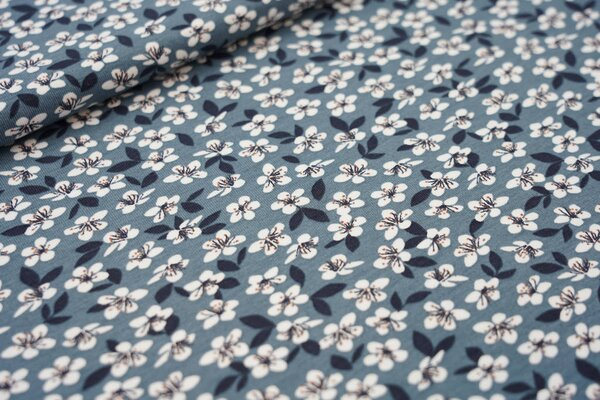 Baumwoll-Jersey Blumen und Blätter blaugrau meliert dunkelblau weiß braun