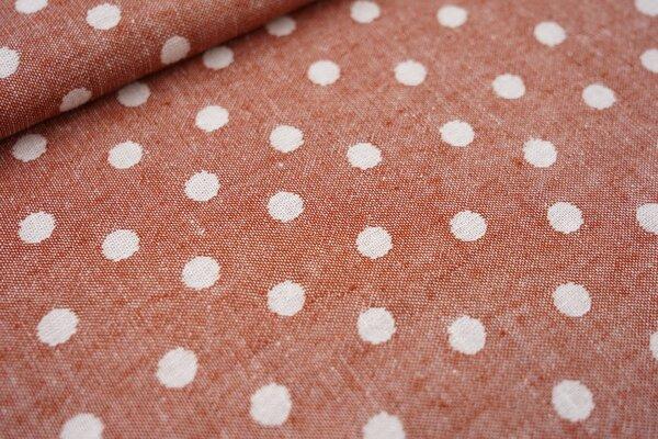 Baumwoll Jacquard doubleface Punkte rostorange / weiß