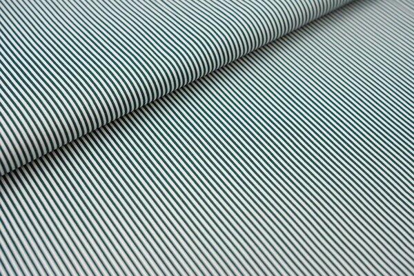 Baumwollstoff Ringel Streifen schmal dunkelgrün / weiß