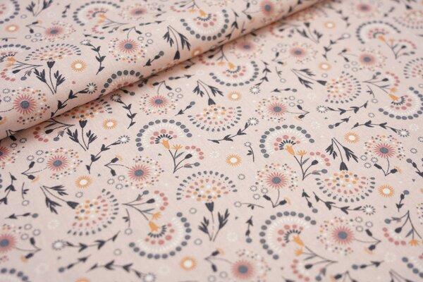 Baumwoll-Stoff mit Blumen Fächer pastell rosa / grau / orange / weiß