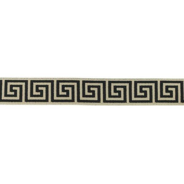 Gummiband griechisches Muster Mäander Ornamente taupe braun / schwarz 25 mm
