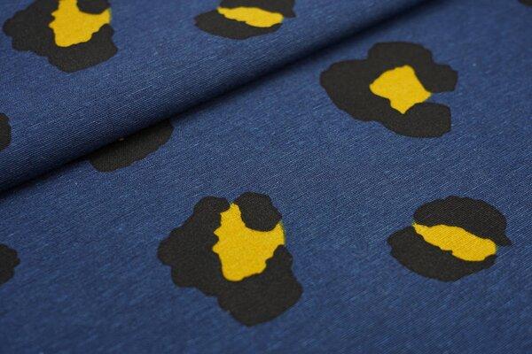 Dekostoff in Leinenoptik großes Leoparden Muster dunkelblau / schwarz / senf