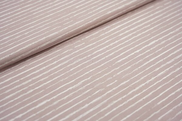 Baumwoll-Jersey weiße Streifen auf pastell violett