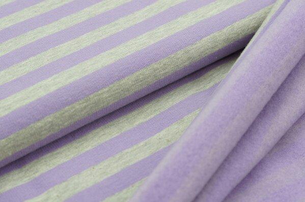 Wintersweat Elli Streifen lila / grau melange