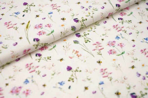 Digitaldruck Baumwoll-Jersey Aquarell mit Pflanzen Blumen Bienen Gräsern in rosa lila grün auf off w
