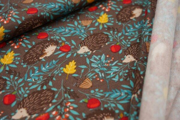 Kuscheliger Baumwoll-Sweat Igel Eicheln Blätter Äpfel auf braun