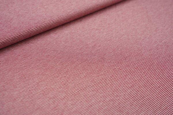 Baumwoll-Jersey Mini-Streifen Ringel rost bordeaux rot / rosa