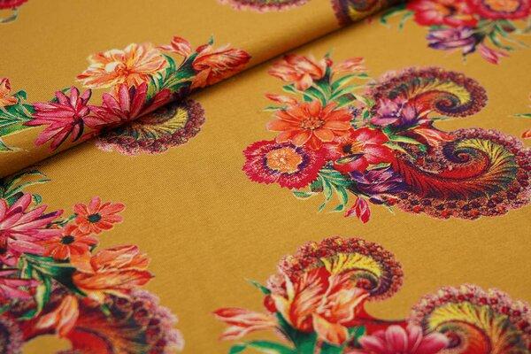 Viskose-Jersey bunte Blumen auf senf ockergelb