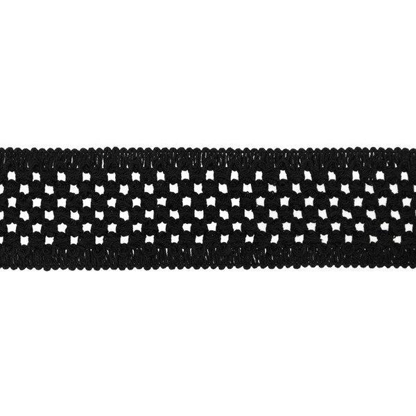 Elastisches Baumwollband in Häkeloptik uni schwarz 50 mm