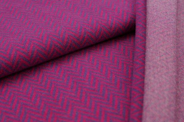 Kuschel Jacquard-Sweat Max XXL Fischgrätmuster amarant pink / lila