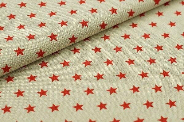Dekostoff Leinenoptik kleine Sterne natur rot