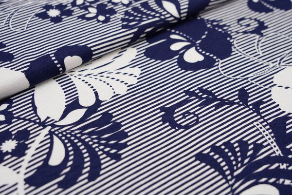 Viskose-Jersey Blumen Muster auf Streifen dunkelblau / weiß
